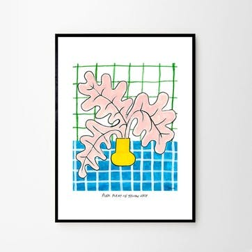 Pink Plant in Yellow Vase, Madelen Mollard Art Print