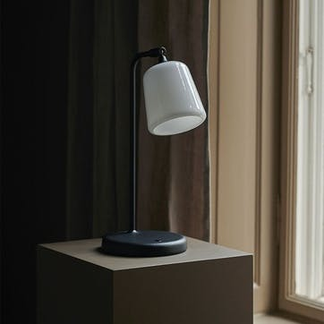 Material, Table lamp, W19 x D25cm, White Opal Glass