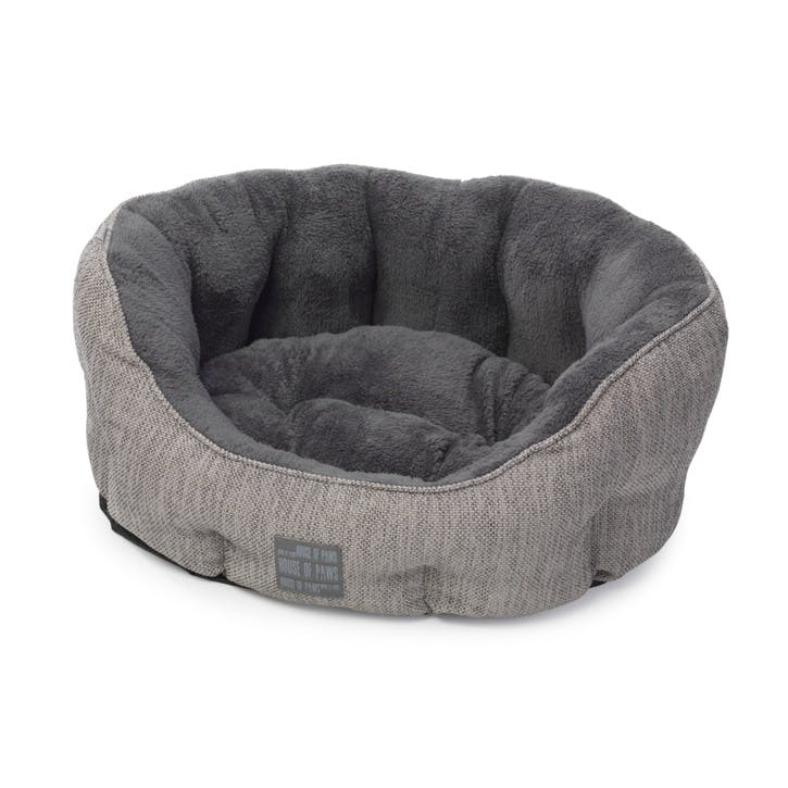 Grey Hessian Oval Snuggle Bed, Medium