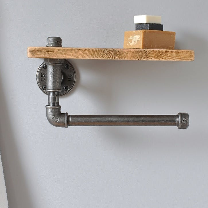 Industrial Towel Rail And Shelf - 30 x 18cm; Natural