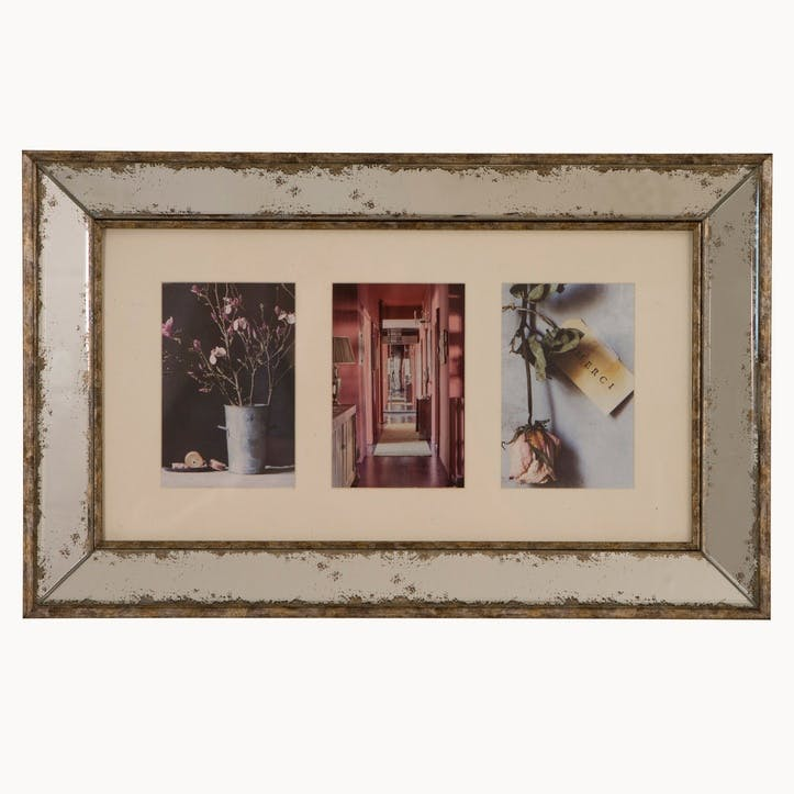 Hanging Photo Frame, 3 Aperture, Antiqued Glass