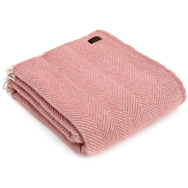 Herringbone Throw; Dusky Pink & Pearl