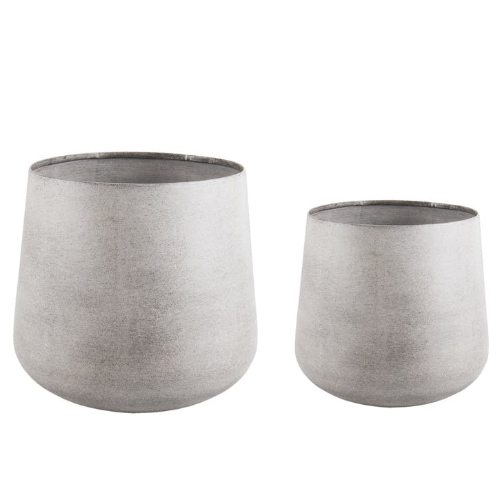 Roughened Steel Plant Pot, Set of 2