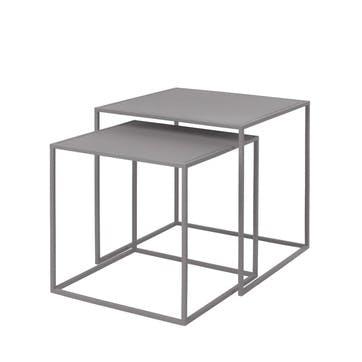 Fera Set of 2 Side Tables, Dove Grey