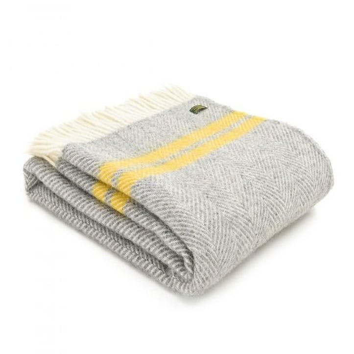 Fishbone 2 Stripe Throw; Grey & Yellow