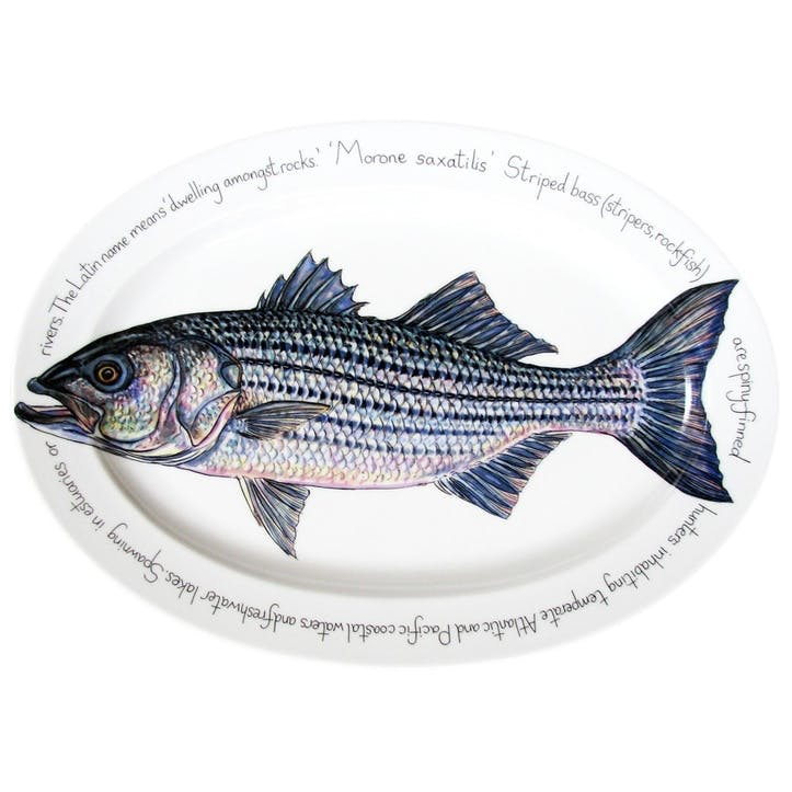 Striped Bass Oval Plate - 39cm