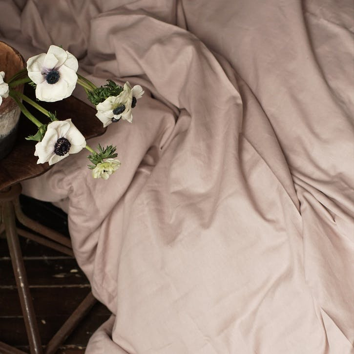 Linen & Bamboo Blend Duvet Cover, Double, Champagne Pink