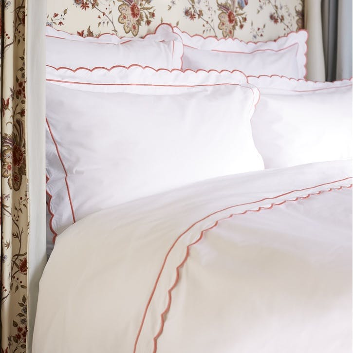 Coral Scalloped Double Duvet Cover