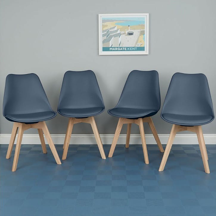 Jerry Set of 4 Dining Chairs, Navy