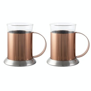 Origins Copper and Glass Cups, Set of 2