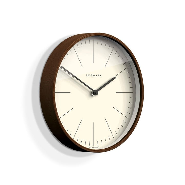 Mr Clarke Wall Clock, Dia. 28cm, Dark Wood