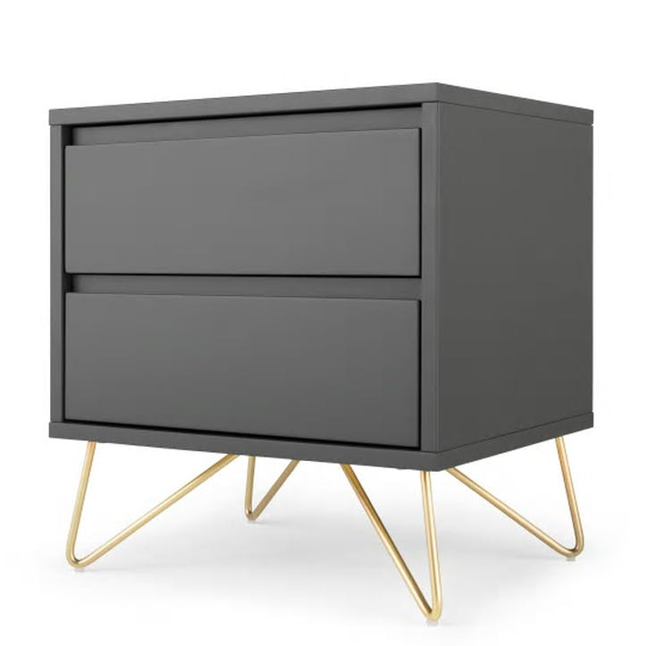 Elona Bedside Table; Charcoal/ Brass