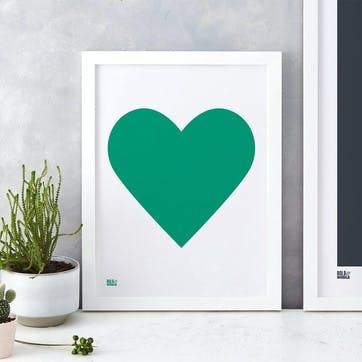 Love Heart Print; Emerald Green on White
