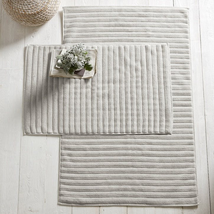 Hydrocotton Ribbed Bath Mat , Pearl Grey, Medium
