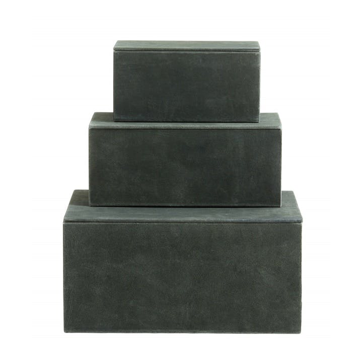 Suede Storage Boxes, Sage Green, Set of 3