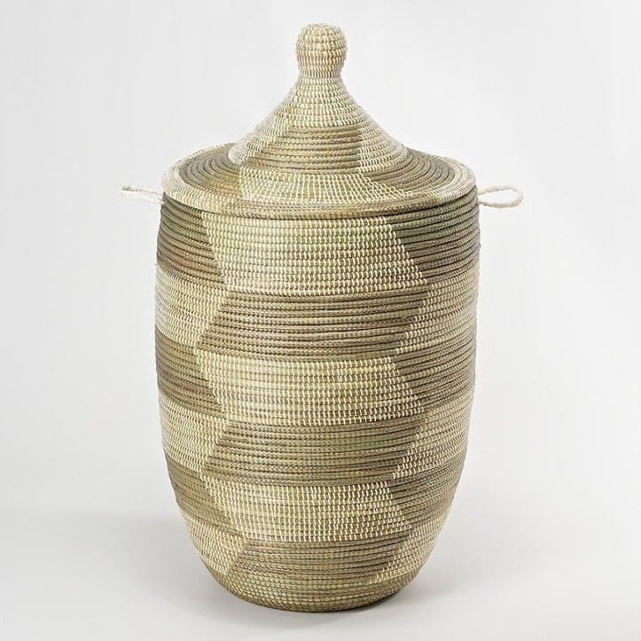 Ali Baba Laundry Basket, Medium, Natural/ Grey