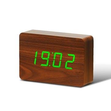 Brick Click Clock Walnut/ Green LED, 15cm