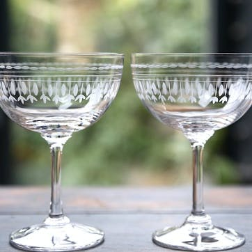 Oval Patterned Crystal Champagne Coupes, Set of 6