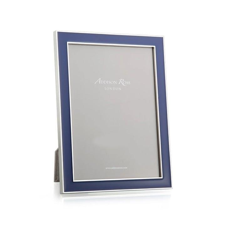 "Navy Blue Enamel & Silver Frame, 4 x 6"""
