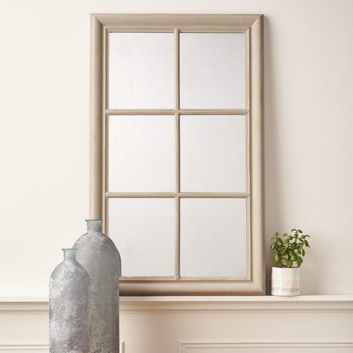 Panelled Window Mirror; Grey