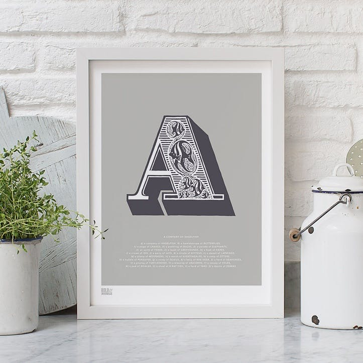 Illustrated Letter A Screen Print, 30cm x 40cm, Putty