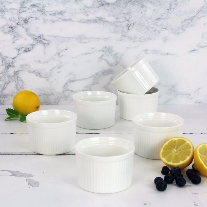 Classic Porcelain Ramekin, Set of 6, White
