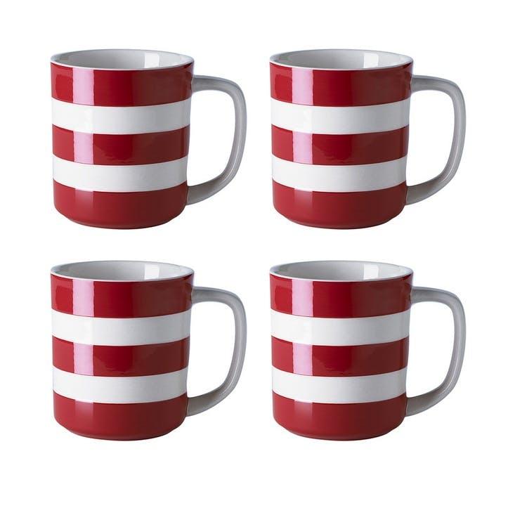 Set Of 4 Mugs, 10oz/28cl, Red