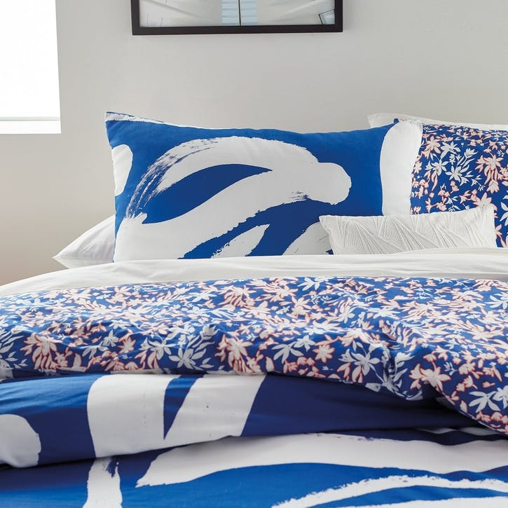 Abstract Floral Standard Pillowcase, Blue