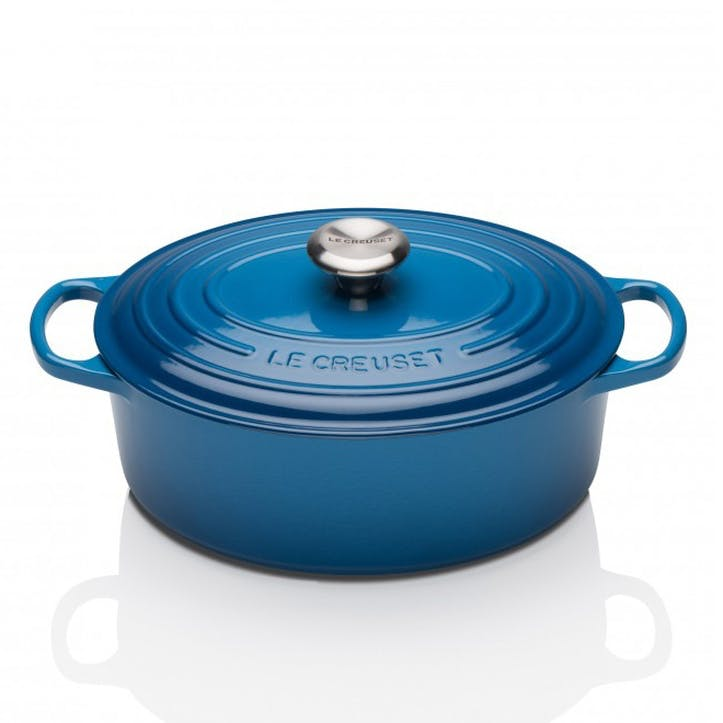Cast Iron Oval Casserole - 27cm; Marseille Blue