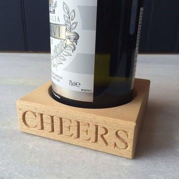 'Cheers' Beech Wood Single Bottle Stand