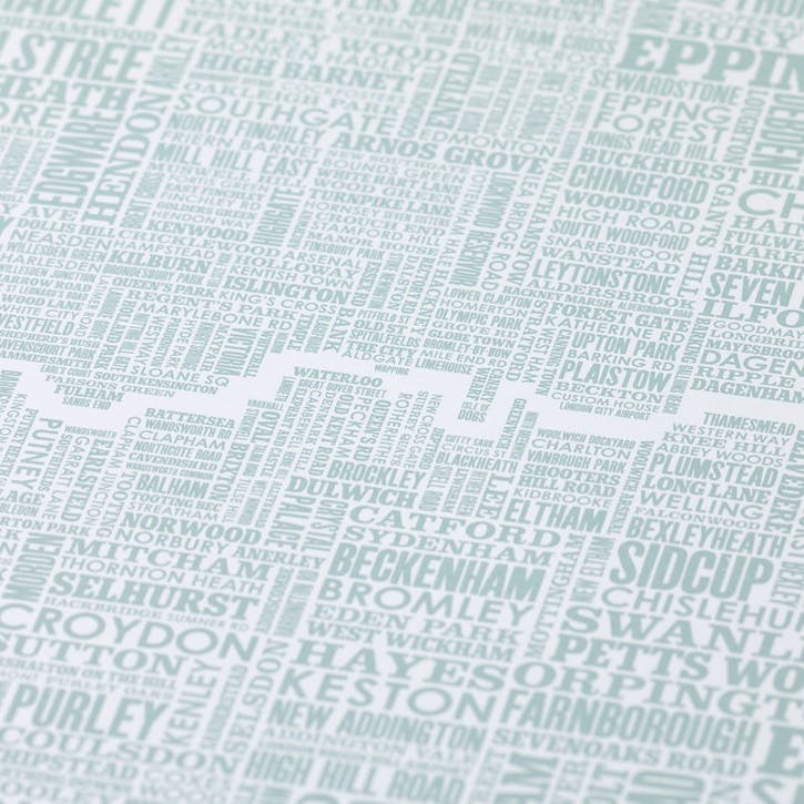 Type Map Screen Print London & Beyond, 50cm x 70cm, Duck Egg Blue