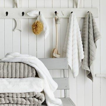 Hydrocotton Ribbed Towel, Face Cloth, Pearl Grey