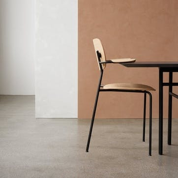 Co, Pair of Dining Chairs, H80 x W62 x D51cm, Oak & Black Steel