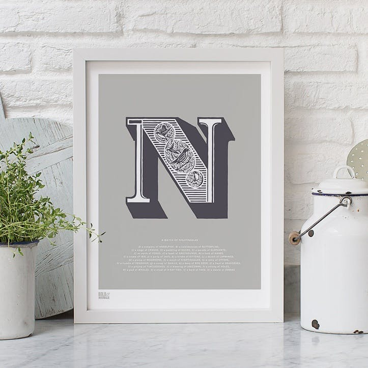 Illustrated Letter N Screen Print, 30cm x 40cm, Putty