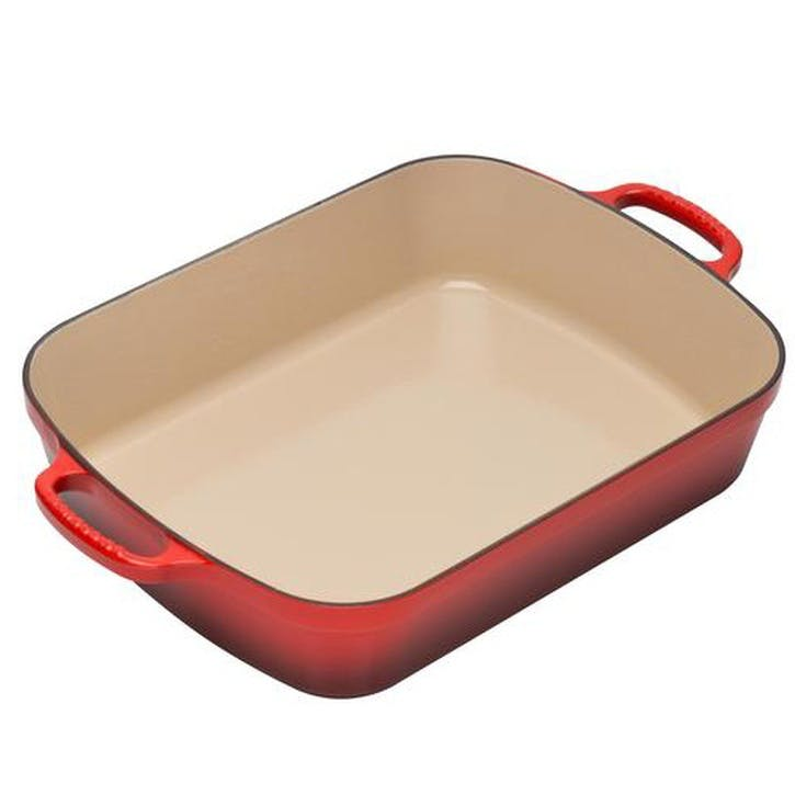 Cast Iron Rectangular Roaster - 33cm; Cerise