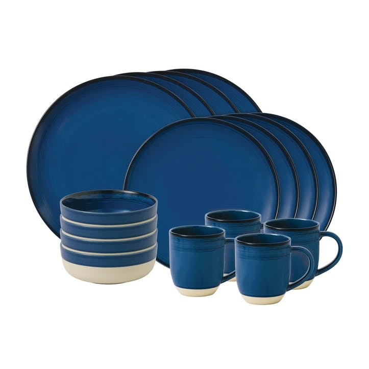 ED Ellen DeGeneres Brushed Glaze 16 Piece Dinner Set, Cobalt Blue
