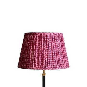 Straight empire shade in pink block printed cotton, 40cm