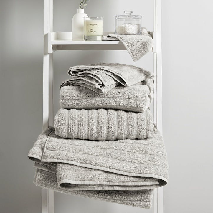Hydrocotton Ribbed Towel, Face Cloth, Pearl Grey