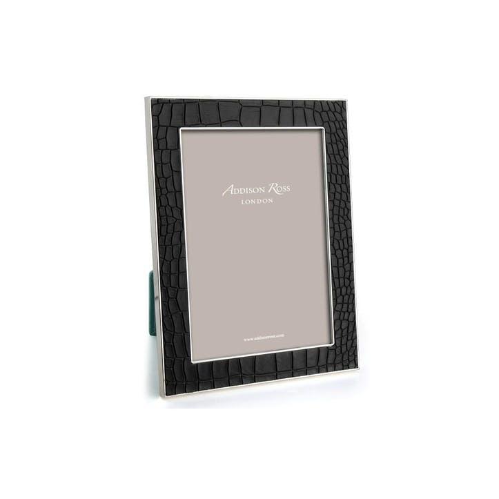 "Silver Plate Faux Croc Photo Frame - 4"" x 6""; Black"