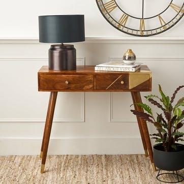 Geometric Brass & Chestnut Desk/Console