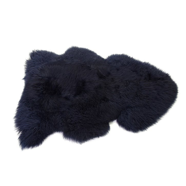 Baa Stool Sheepskin Rug, Navy
