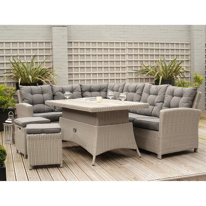 Antigua Regular Corner Set with Relaxed Dining and Adjustable Table, Stone Grey