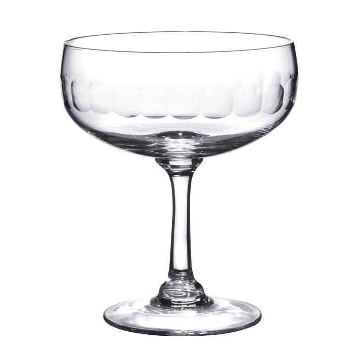 Lens Patterned Crystal Cocktail Glasses, Set of 4