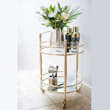 Jewel Glass and Brass Drinks Trolley