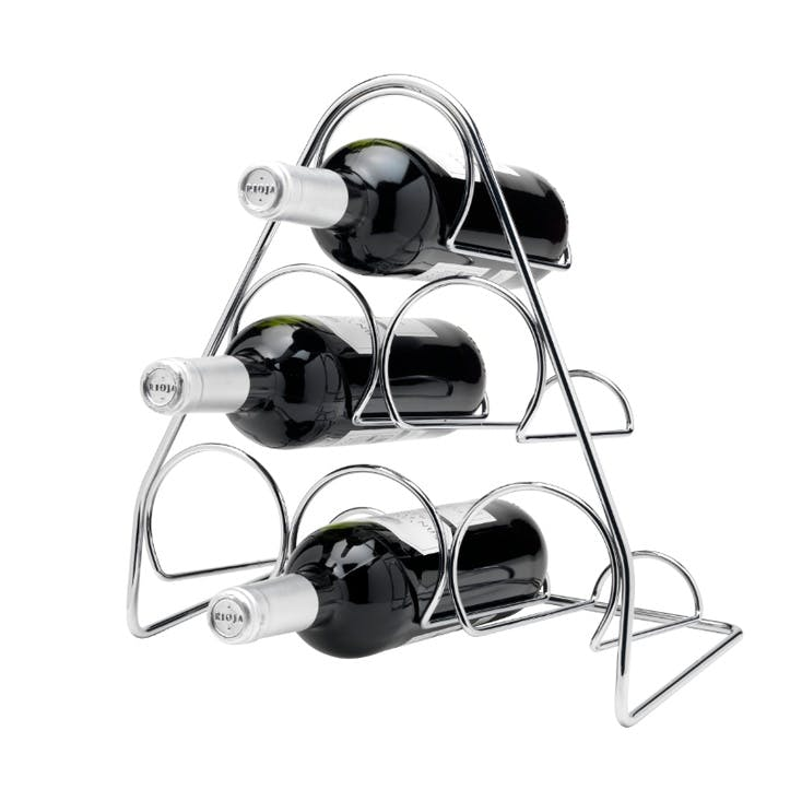 Pisa 6 Bottle Pyramid Wine Rack, Chrome