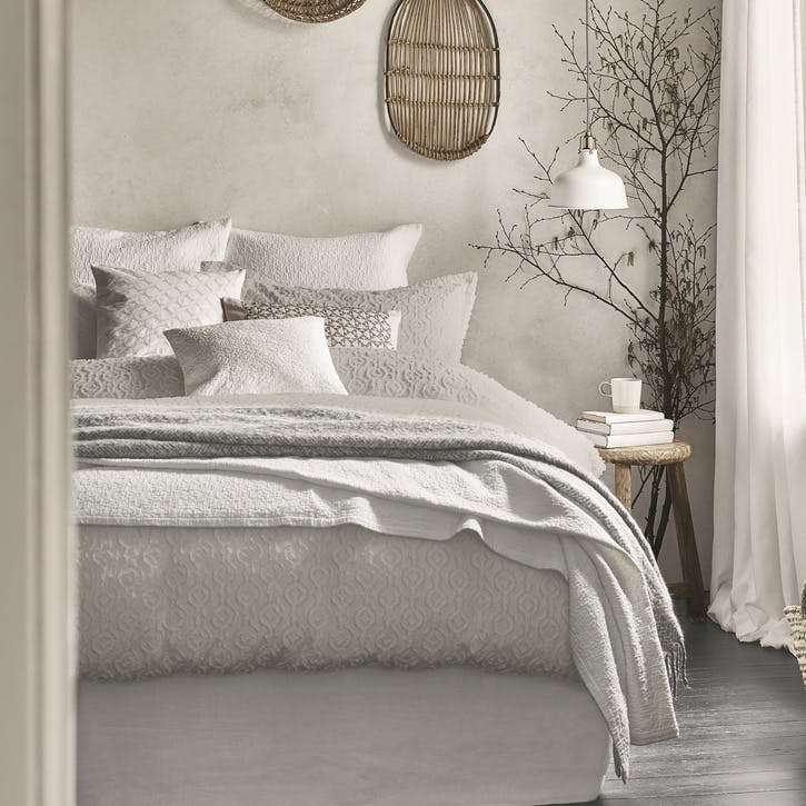 Nara Double Duvet Cover, Cloud Grey