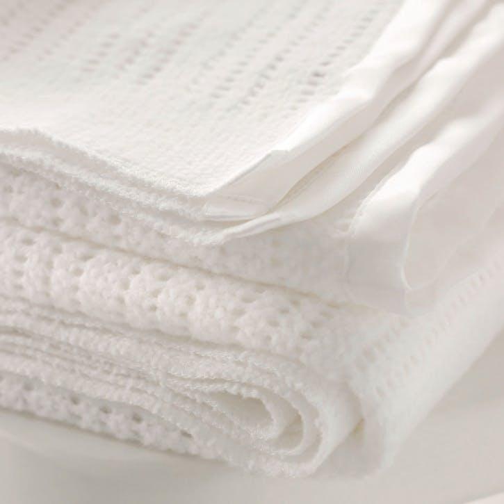 Satin Edged Cellular Baby Blanket, White