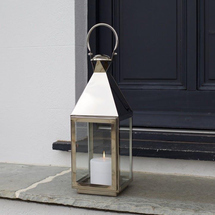 Topsham Stainless Steel Pillar Candle Lantern, Small
