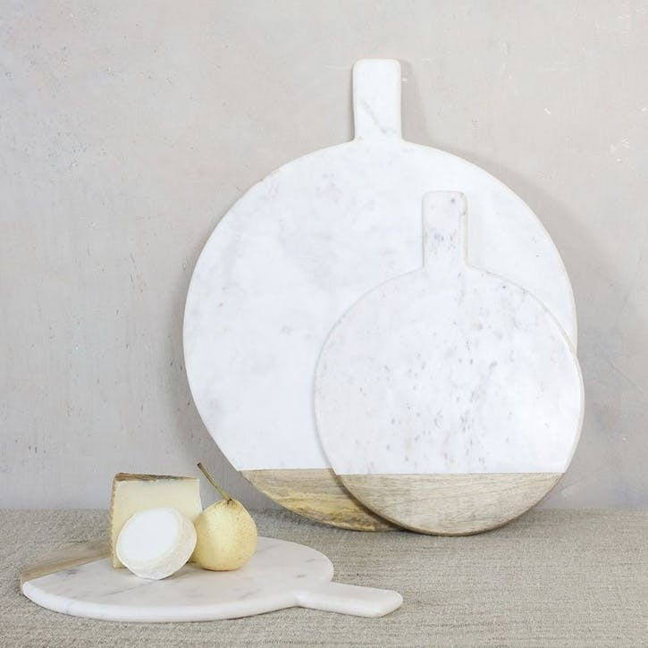 Bwari Round Marble Board - Large; White