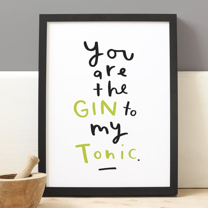 'Gin To My Tonic' Black & Green Print White Background, A4